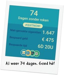 74 dagen gestopt met roken
